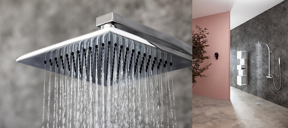 noir douche /à effet pluie Syst/ème de douche SCHW/ÄNLEIN avec thermostat colonne de douche
