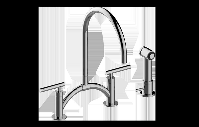 Sospiro Contemporary Bridge Kitchen Faucet With Independent Side Spray Kuche Graff