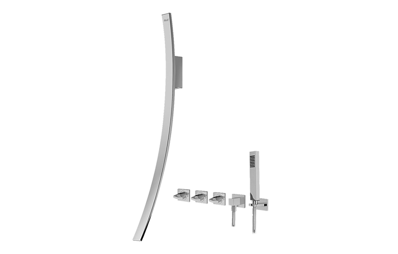 Luna Wall Mounted Tub Filler W Wall Mounted Handles
