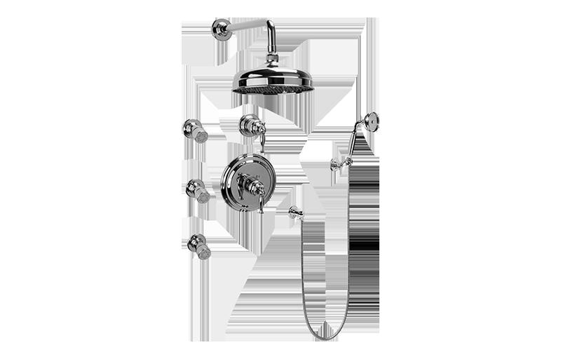 full thermostatic shower system with transfer valve rough trim bat. Black Bedroom Furniture Sets. Home Design Ideas