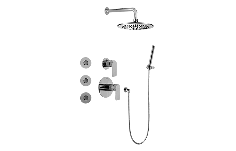 full thermostatic shower system with transfer valve rough trim bathroom graff. Black Bedroom Furniture Sets. Home Design Ideas