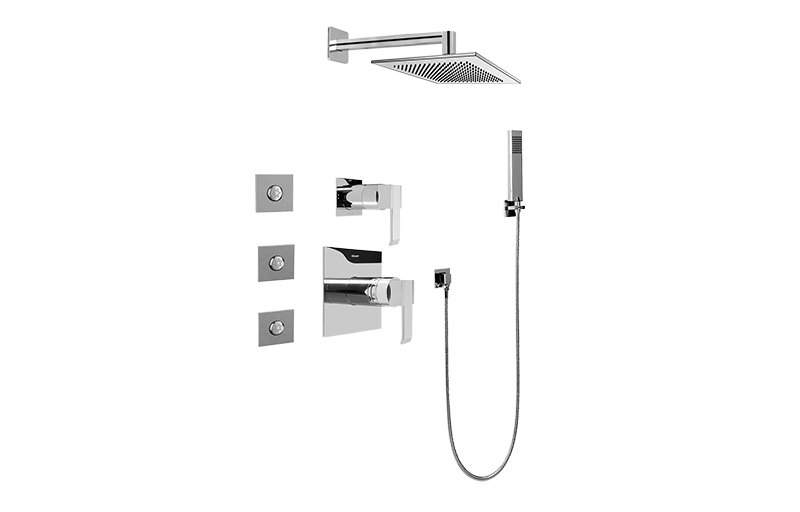 full thermostatic shower system with transfer valve rough trim shower graff. Black Bedroom Furniture Sets. Home Design Ideas