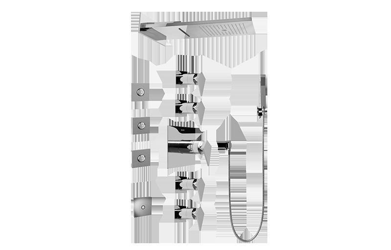 full square led thermostatic shower system bathroom graff. Black Bedroom Furniture Sets. Home Design Ideas
