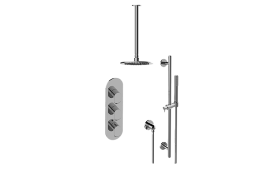 Phase M-Series Thermostatic Shower System - Shower with Handshower