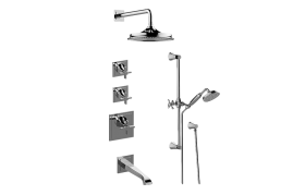 Finezza DUE M-Series Thermostatic Shower System - Tub and Shower with Handshower